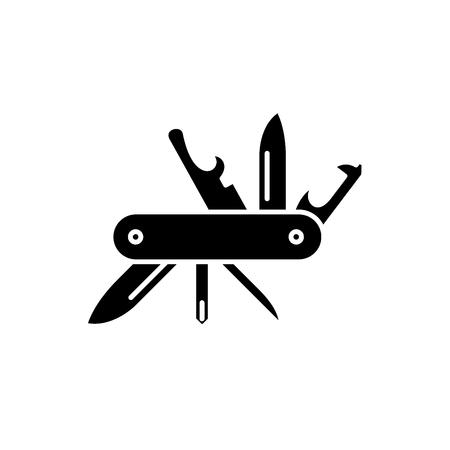 Cuchillo multiusos icono negro, concepto de signo de vectores de fondo aislados. Ilustración de cuchillo multiusos, símbolo