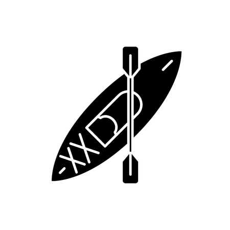 Canoe black icon, concept vector sign on isolated background. Canoe illustration, symbol  イラスト・ベクター素材