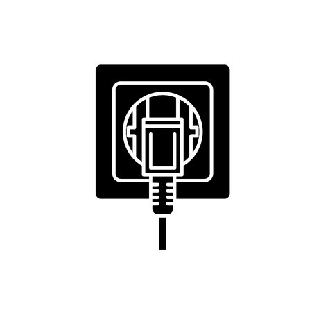 Electric outlet black icon, concept vector sign on isolated background. Electric outlet illustration, symbol Banque d'images - 127290279