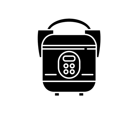 Slow cooker black icon, concept vector sign on isolated background. Slow cooker illustration, symbol