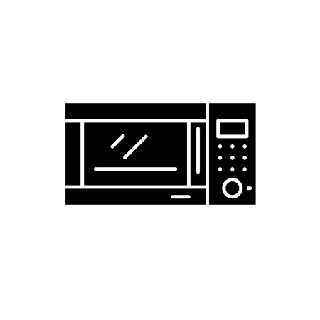 Microwave oven black icon, concept vector sign on isolated background. Microwave oven illustration, symbol