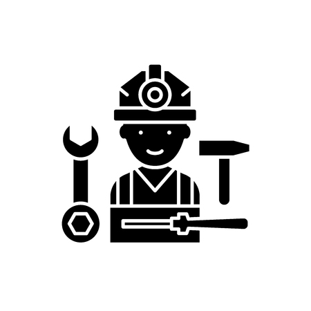 Installation work black icon, concept vector sign on isolated background. Installation work illustration, symbol