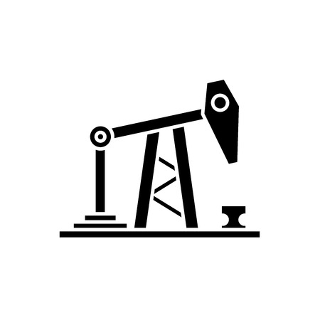 Oil rig black icon, concept vector sign on isolated background. Oil rig illustration, symbol