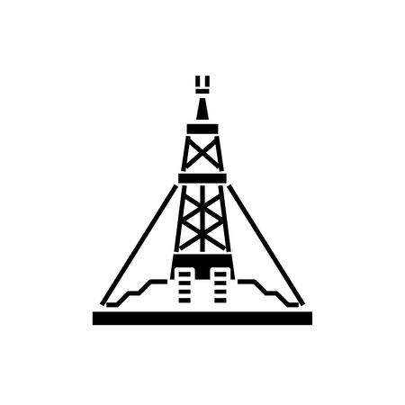 Oil production platform black icon, concept vector sign on isolated background. Oil production platform illustration, symbol Illustration