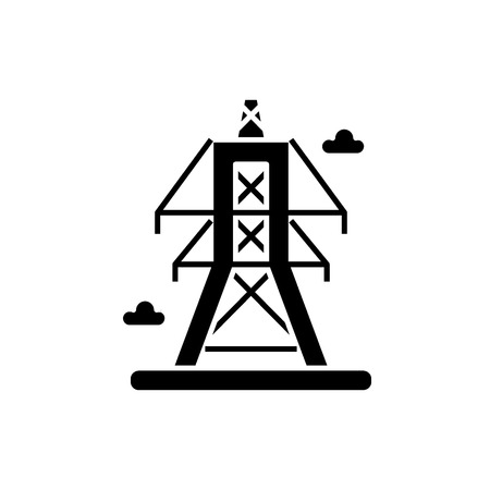 Electric lines black icon, concept vector sign on isolated background. Electric lines illustration, symbol Ilustracja