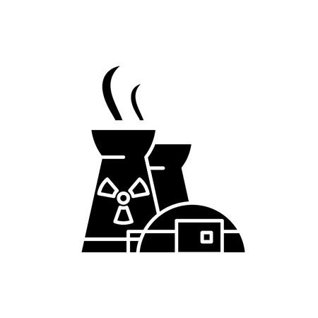 Icône noire de la centrale nucléaire, signe de vecteur de concept sur fond isolé. Illustration de la centrale nucléaire, symbole