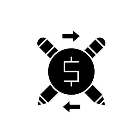 Business copywriter black icon, concept vector sign on isolated background. Business copywriter illustration, symbol Illustration