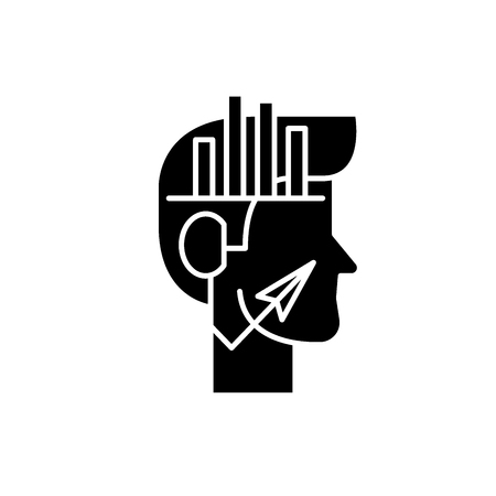 Analytical thinking black icon, concept vector sign on isolated background. Analytical thinking illustration, symbol Illustration