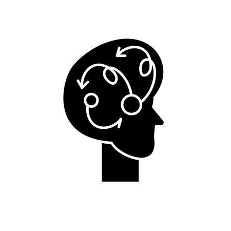 Algorithmic thinking black icon, concept vector sign on isolated background. Algorithmic thinking illustration, symbol