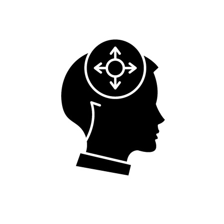 Icône noire de prise de décision, signe de vecteur de concept sur fond isolé. Illustration de prise de décision, symbole