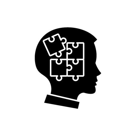 Schwarzes Symbol der Selbstdisziplin, Konzeptvektorzeichen auf lokalisiertem Hintergrund. Selbstdisziplin Illustration, Symbol