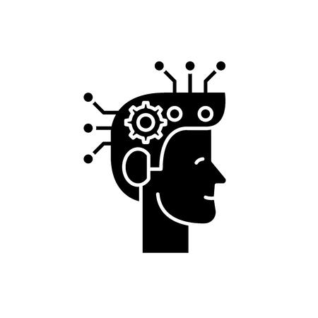Strategic thinking black icon, concept vector sign on isolated background. Strategic thinking illustration, symbol Illustration