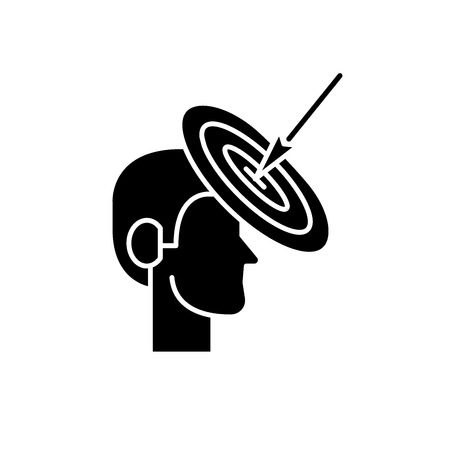 Goalkeeping black icon, concept vector sign on isolated background. Goalkeeping illustration, symbol Ilustração