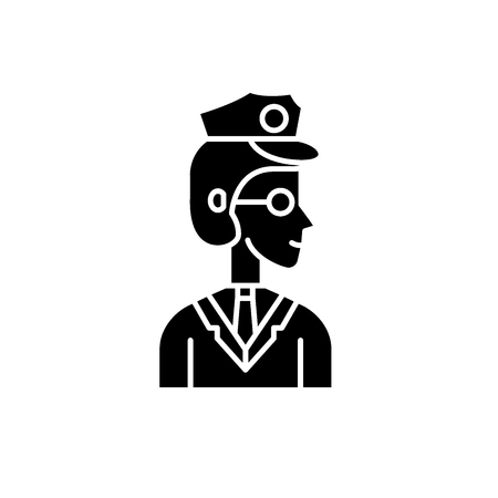 Officer black icon, concept vector sign on isolated background. Officer illustration, symbol Illustration