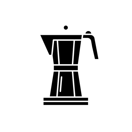 Making coffee black icon, concept vector sign on isolated background. Making coffee illustration, symbol