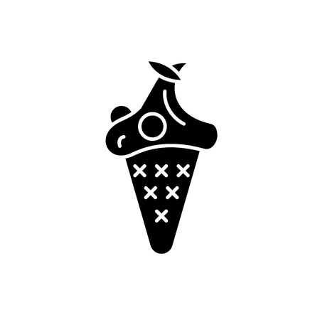 Cherry ice cream black icon, concept vector sign on isolated background. Cherry ice cream illustration, symbol