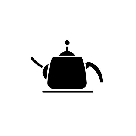 Teapot black icon, concept vector sign on isolated background. Teapot illustration, symbol