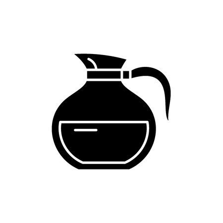 Glass teapot black icon, concept vector sign on isolated background. Glass teapot illustration, symbol Illustration