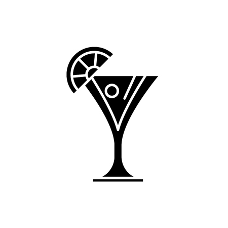 Martini black icon, concept vector sign on isolated background. Martini illustration, symbol