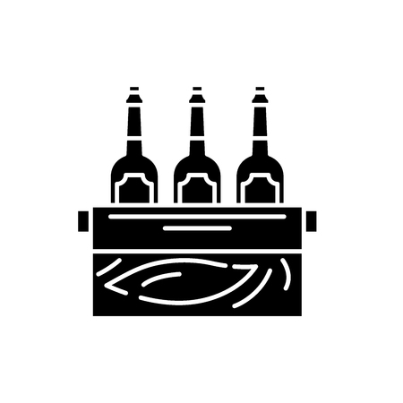 Case of beer black icon, concept vector sign on isolated background. Case of beer illustration, symbol Imagens - 127290380