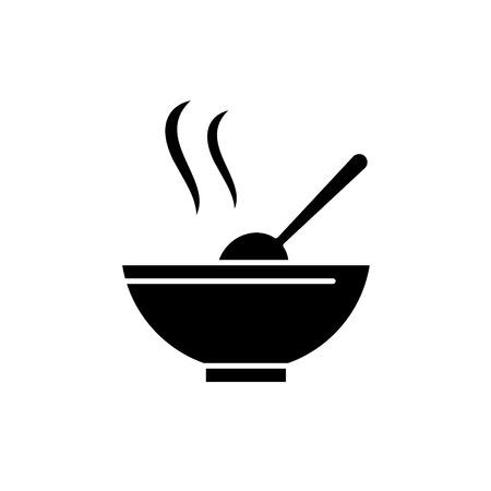 Soup black icon, concept vector sign on isolated background. Soup illustration, symbol
