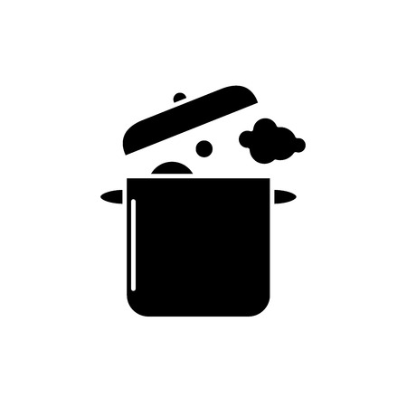 Home cooking black icon, concept vector sign on isolated background. Home cooking illustration, symbol Ilustração