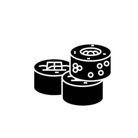 Sushi rolls black icon, concept vector sign on isolated background. Sushi rolls illustration, symbol Illustration