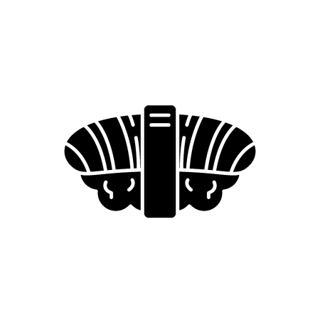 Japanese sushi black icon, concept vector sign on isolated background. Japanese sushi illustration, symbol 向量圖像