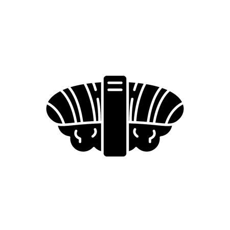 Japanese sushi black icon, concept vector sign on isolated background. Japanese sushi illustration, symbol Illustration