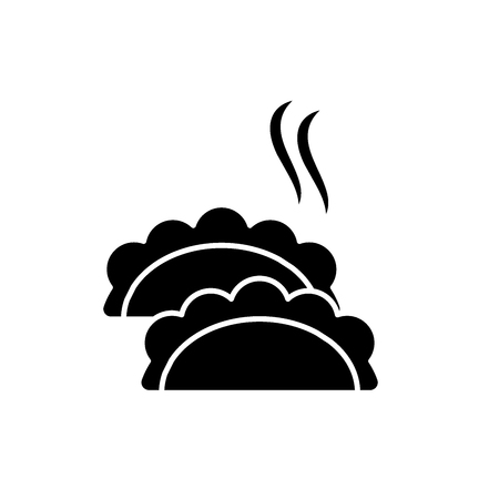 Dumplings black icon, concept vector sign on isolated background. Dumplings illustration, symbol