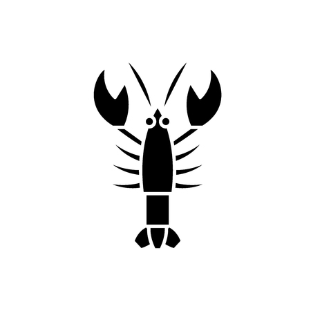 Crayfish black icon, concept vector sign on isolated background. Crayfish illustration, symbol