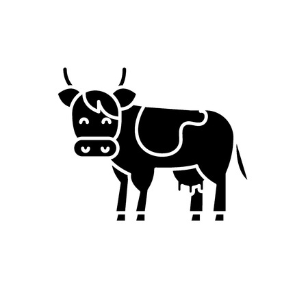 Cow black icon, concept vector sign on isolated background. Cow illustration, symbol Illustration