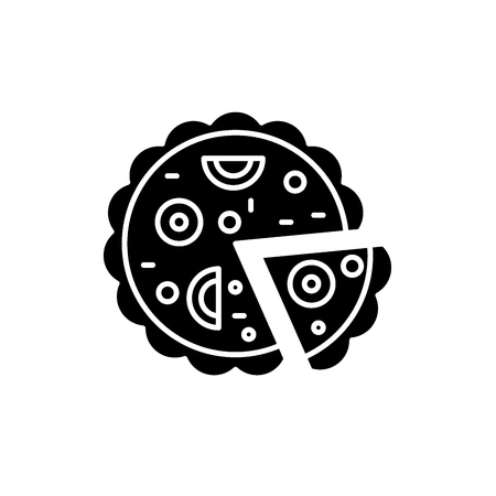 Pizza black icon, concept vector sign on isolated background. Pizza illustration, symbol Иллюстрация
