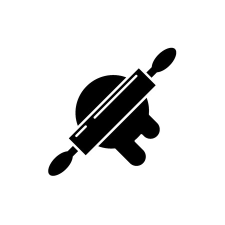 Dough preparation black icon, concept vector sign on isolated background. Dough preparation illustration, symbol