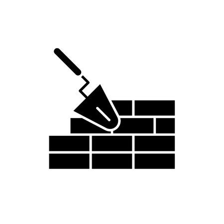 Brickwork black icon, concept vector sign on isolated background. Brickwork illustration, symbol