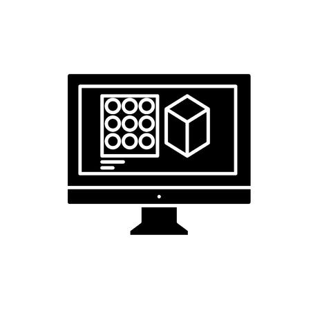 Design designing black icon, concept vector sign on isolated background. Design designing illustration, symbol Illustration