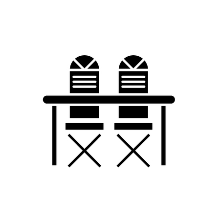Kitchen table and chairs black icon, concept vector sign on isolated background. Kitchen table and chairs illustration, symbol