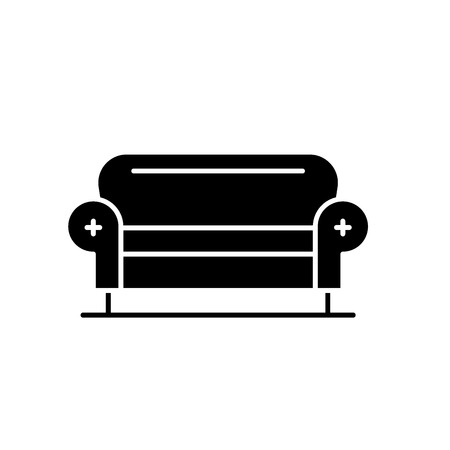 Living room sofa black icon, concept vector sign on isolated background. Living room sofa illustration, symbol