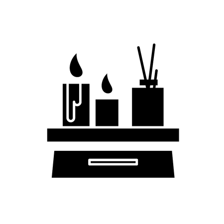Candles in the interior black icon, concept vector sign on isolated background. Candles in the interior illustration, symbol