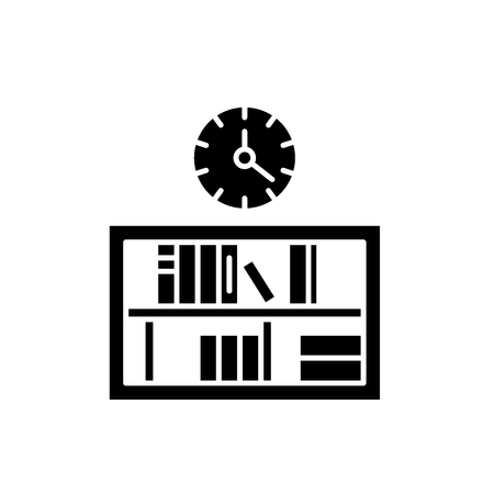 Bookshelf with clock black icon, concept vector sign on isolated background. Bookshelf with clock illustration, symbol