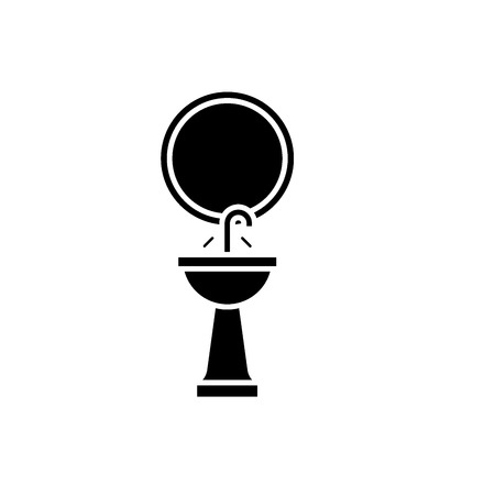Washbasin black icon, concept vector sign on isolated background. Washbasin illustration, symbol