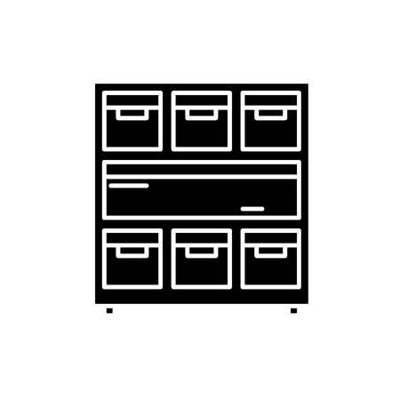 Cabinet with documents black icon, concept vector sign on isolated background. Cabinet with documents illustration, symbol