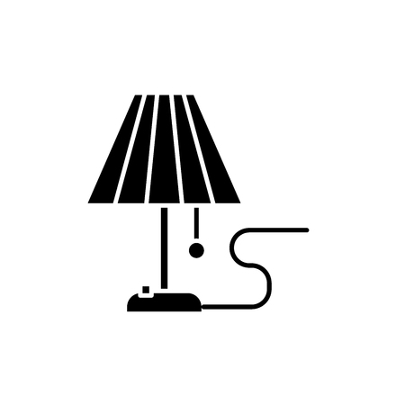 Lamp black icon, concept vector sign on isolated background. Lamp illustration, symbol