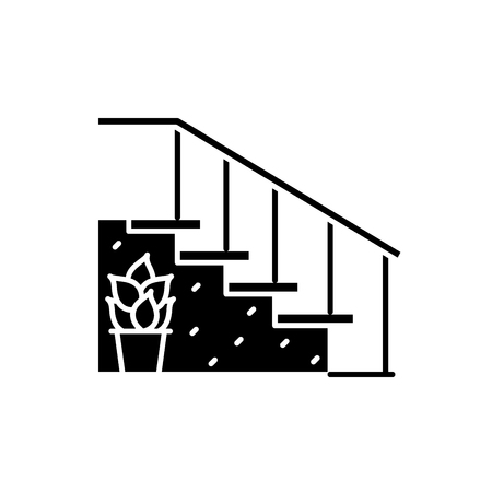 Staircase at the entrance black icon, concept vector sign on isolated background. Staircase at the entrance illustration, symbol