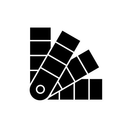 Palette of flowers black icon, concept vector sign on isolated background. Palette of flowers illustration, symbol Ilustração