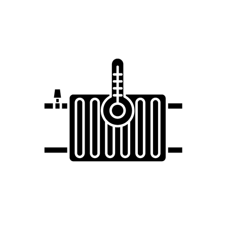 Heating radiators black icon, concept vector sign on isolated background. Heating radiators illustration, symbol Standard-Bild - 127290498