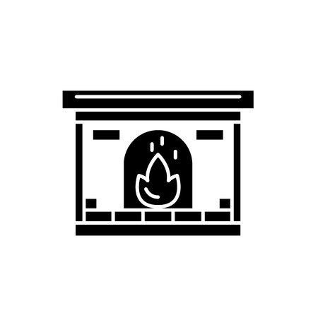 Fireplace black icon, concept vector sign on isolated background. Fireplace illustration, symbol Stock Illustratie