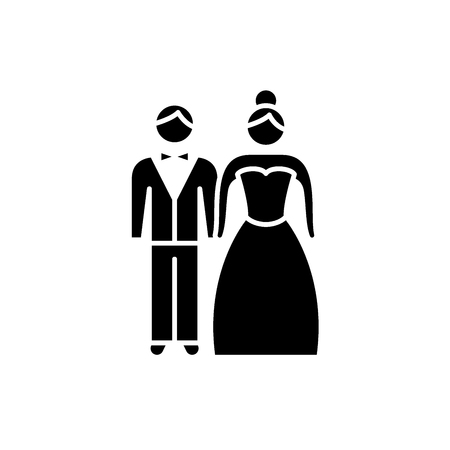 Newlyweds black icon, concept vector sign on isolated background. Newlyweds illustration, symbol