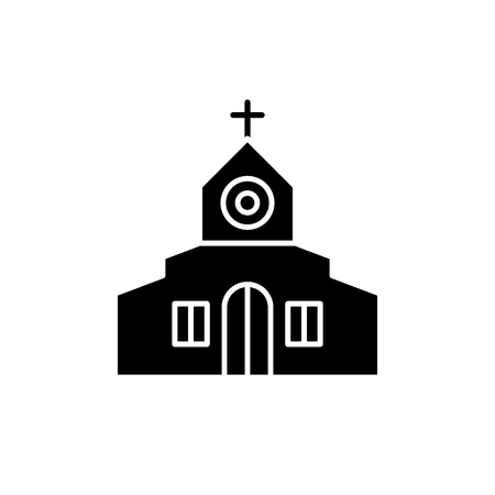 Church black icon, concept vector sign on isolated background. Church illustration, symbol