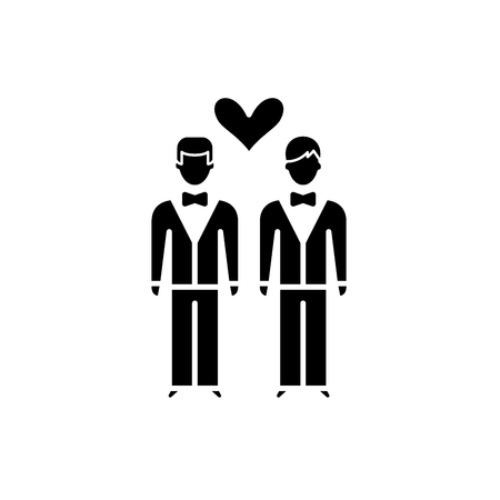 Same-sex marriage black icon, concept vector sign on isolated background. Same-sex marriage illustration, symbol